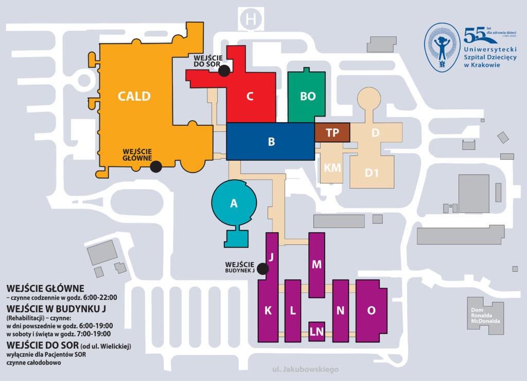Schemat wejść dobudynków Szpitala USDK.